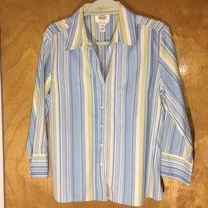 TALBOTS Striped Wrinkle Resistant Blouse